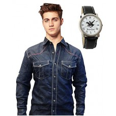 Deals, Discounts & Offers on Men Clothing - Dark Blue Denim Men Casual Shirt With Black Watch at Rs 599 only