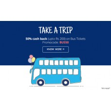 Deals, Discounts & Offers on Bus Tickets - Get 35% (upto  Rs 200) Cashback on Bus ticket bookings of Rs 200 or more.