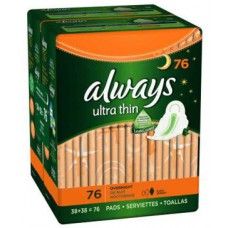 Deals, Discounts & Offers on Women - Always Ultra Overnight With Wings Unscented Thin Pads 76 Count