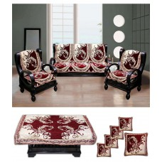 Deals, Discounts & Offers on Home & Kitchen - Fk Golden Maroon Attractive Leaf Design Sofa Cove With Table & Cushion Cover Set