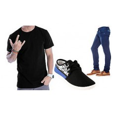 Deals, Discounts & Offers on Men - Combo Of Bacca Bucci Casual Shoes With 1 Blue Jeans And 1 Black T-shirt at Rs 965 only