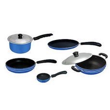 Deals, Discounts & Offers on Home & Kitchen - Apricoat Cookware Set of Dosa Tawa, Fry Pan, Deep Kadhai, Tadka Pan And Sauce Pan With 2 Lids - AP1 at Rs 1199 only
