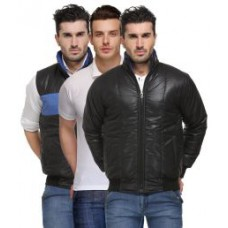 Deals, Discounts & Offers on Men Clothing - Combo of Black Full Sleeves Quilted & Bomber Jacket With Polo T-Shirt