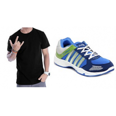 Deals, Discounts & Offers on Men Clothing - Combo Of Colombus Sports Shoes And T-shirt - tab-115 Rs 574  only