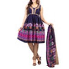 Deals, Discounts & Offers on Women Clothing - Blue printed poly cotton unstitched suit set
